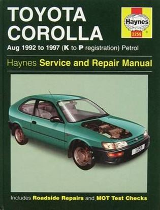 Picture of TOYOTA COROLLA AUG. 1992 TO 1997 (K TO P REGISTRATION) PETROL N. 3259 OWNERS WORKSHOP MANUALS