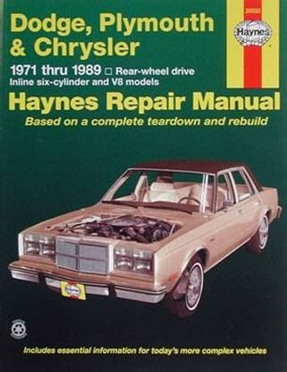 Immagine di DODGE, PLYMOUTH & CHRYSLER 1971-1989 HAYNES REPAIR MANUAL N. 30050