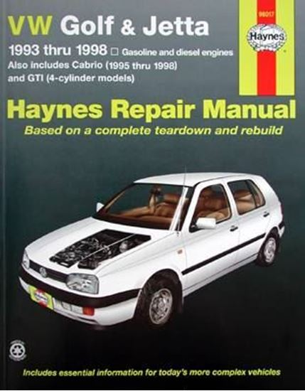 Picture of VW GOLF & JETTA 1993 Thru 1998 - OWNERS WORKSHOP MANUALS N. 96017