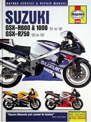 Picture of SUZUKI GSX-R600 & 1000 '01 to '02 – GSX-R750 '00 to '02 SERVICE & REPAIR MANUAL N. 3986