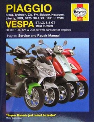 Immagine di PIAGGIO/VESPA SCOOTERS 1991 – 2009 SERVICE AND REPAIR MANUAL N. 3492