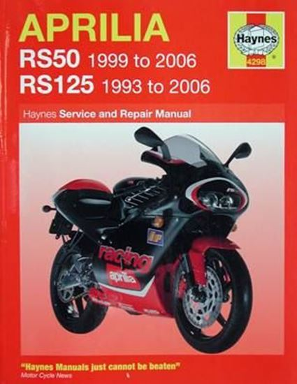 Picture of APRILIA RS50 1999 to 2006 RS125 1993 to 2006 SERVICE AND REPAIR MANUAL N. 4298