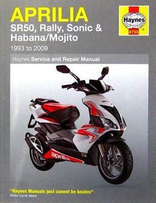 Picture of APRILIA SR50 RALLY SONIC & HABANA/MOJITO 1993 TO 2009 SERVICE AND REPAIR MANUAL N. 4755
