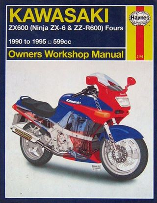 Picture of KAWASAKI ZX600 (NINJA ZX-6 & ZZ-R600) FOURS 1990-1995 OWNERS WORKSHOP MANUAL N. 2146