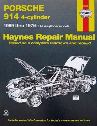 Picture of PORSCHE 914 4-CYLINDER 1996 THRU 1976 ALL 4-CYLINDER MODELS HAYNES REPAIR MANUAL N. 80025