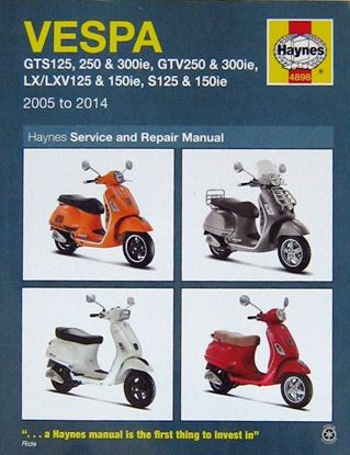 Picture of VESPA GTS125, 250 & 300ie, GTV250 & 300ie, LX, LXV 125 & 150ie, S125 & 150ie 2005 TO 2014 SERVICE AND REPAIR MANUAL N. 4898
