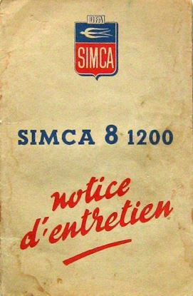 Picture of SIMCA 8 1200 NOTICE D'ENTRETIEN