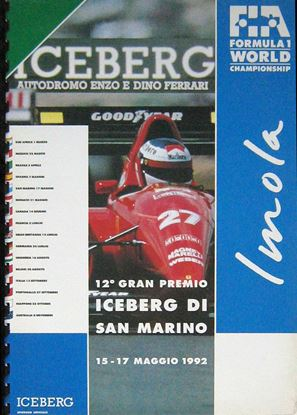 Picture of 12° GRAN PREMIO ICEBERG DI SAN MARINO IMOLA 15-17 MAGGIO 1992 PRESS KIT/DOSSIER STAMPA