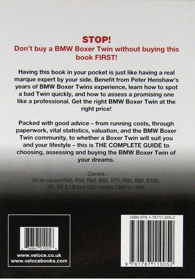 Immagine di BMW BOXER TWINS THE ESSENTIAL BUYER'S GUIDE. All air-cooled R45, R50, R60, R65, R75, R80, R90, R100, RS, RT & LS (Not GS) models 1969 to 1994
