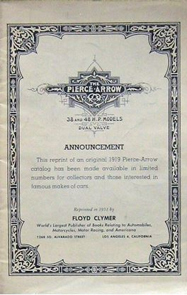 Picture of THE PIERCE ARROW ANNOUNCEMENT